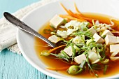 Vegetarian miso soup with pointed cabbage and tofu
