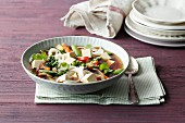 Quick glass noodle soup with tofu and oriental vegetables