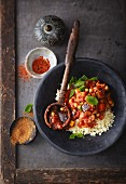 Vegan vegetable tagine with couscous and fresh mint