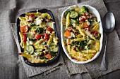 Italian pasta bake with Mediterranean vegetables