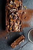 Dark chocolate terrine with pecan nut brittle