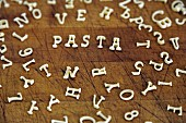 The word 'pasta' spelt with alphabet pasta
