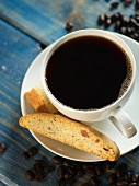 Almond and orange biscotti and a cup of coffee