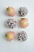 Hydrangea and peony wagashi (Japanese sweets)