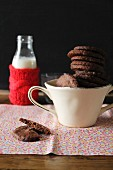 Chocolate biscuits and a bottle of milk