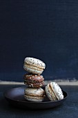 Various macaroons with chocolate and poppyseeds