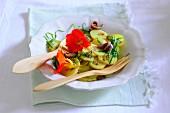 Potato salad with nasturtium flowers