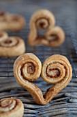 Cinnamon whirls in a heart shape