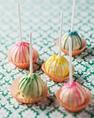 Cake pops with colourful strips