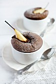Moelleux au chocolat with pears