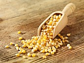 Popping corn in wooden scoop