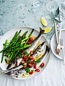 Roast whiting with asparagus and sauce vierge
