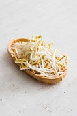Bean sprouts in a wooden basket