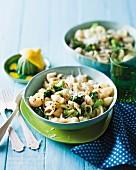Shell pasta with broccoli and lemons