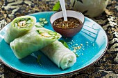Vegan rice paper rolls with tofu, green asparagus and fresh herbs