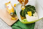 Vegan herb dip with silken tofu being made