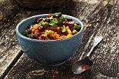 Vegan bean ragout with chilli