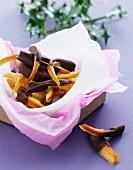 Candied orange zest with chocolate glaze