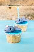 Cupcakes decorated with whales