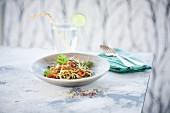 Vegetable spaghetti with lemonade