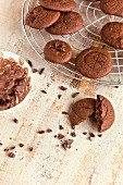 Chocolate whoopie pies on a wire rack