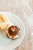 Two Assorted Flavored Whoopie Pies on a Plate