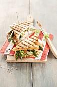 A club sandwich with asparagus