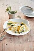 Asparagus ravioli with sage