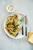 Potato pasta with asparagus and Parmesan cheese