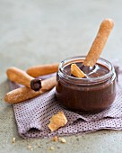 Homemade chocolate spread with bread sticks