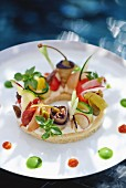 Bruschetta with vegetables and capers