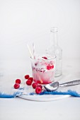 A raspberry and cream float with an ice cream scoop and fresh raspberries