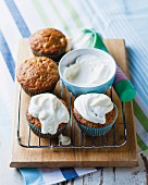 Carrot cupcakes with bananas and pineapple