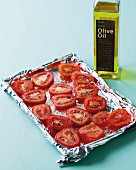 Sliced tomatoes with olive oil and spices