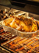 A turkey in an oven