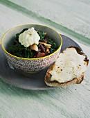 Chard with pine nuts and taleggio crostini
