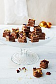 Layered vegan fudge with chocolate fruits for Christmas