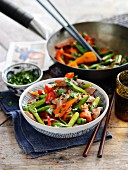 Stir-fried vegetables with duck and honey (Asia)