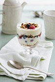 A layered desert of yoghurt, cereals, raspberries and blueberries