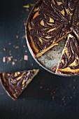 Pumpkin and chocolate cheesecake, sliced