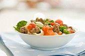 Shell pasta with minced beef, carrots, peas, broccoli and tomatoes
