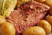 Corned beef with cabbage and potatoes (traditional dish for St. Patrick's Day, Ireland)