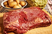 Ingredients for corned beef with cabbage and potatoes