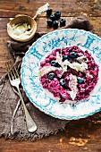 Risotto with blueberries, red wine and Parmesan