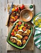 Frittelle di ricotta (ricotta balls with tomato salad, Italy)