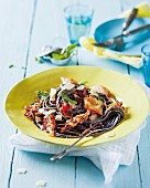 Black spaghetti with squid