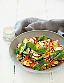Rice and vegetable salad with Parmesan vinaigrette