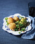 Cheese croquettes with a pear salad