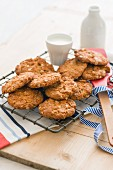 Anzac biscuits on a wire rack