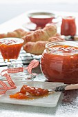 Apricot jam and croissants